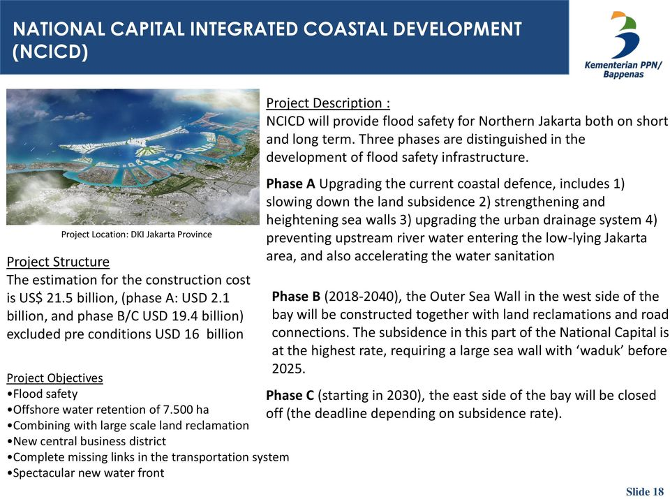 500 ha Combining with large scale land reclamation New central business district Complete missing links in the transportation system Spectacular new water front Project Description : NCICD will