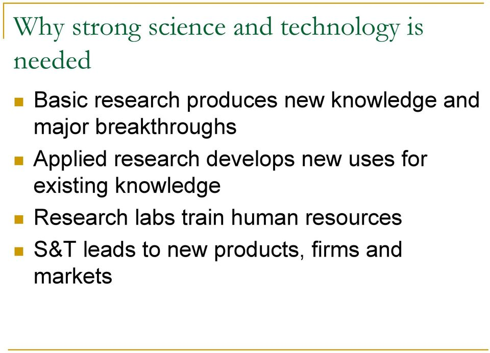 research develops new uses for existing knowledge Research