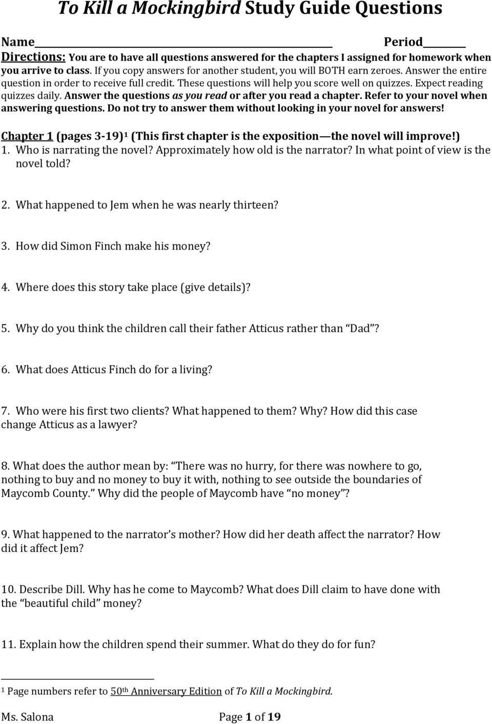 to kill a mockingbird study guide questions pdf answer the questions as you or after you a chapter refer to your
