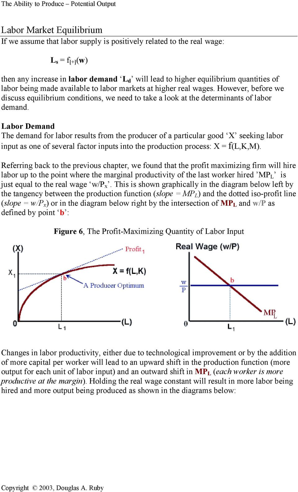 Labor Demand The demand for labor results from the producer of a particular good X seeking labor input as one of several factor inputs into the production process: X = f(l,k,m).