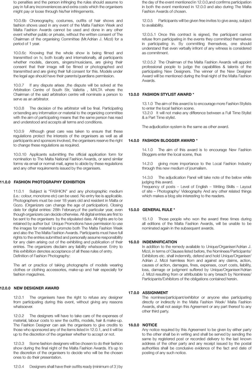 Rules Regulations For Participants Of The Malta Fashion Week And The Malta Fashion Awards Pdf Free Download