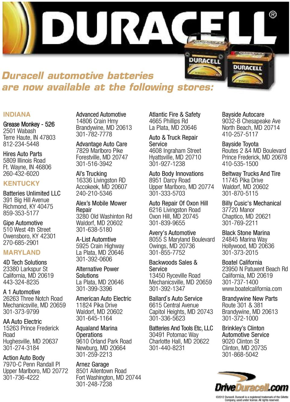 Duracell Automotive Batteries Are Now Available At The Following