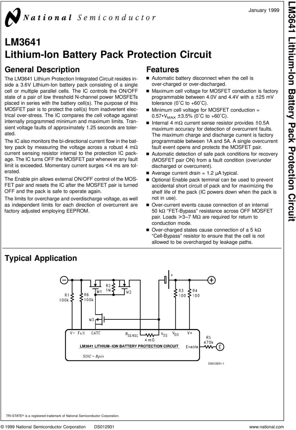 Lm3641 Lithium Ion Battery Pack Protection Circuit Pdf Lm555 Lm555c Timer Circuits The Ic Controls On Off State Of A Pair Low Threshold N
