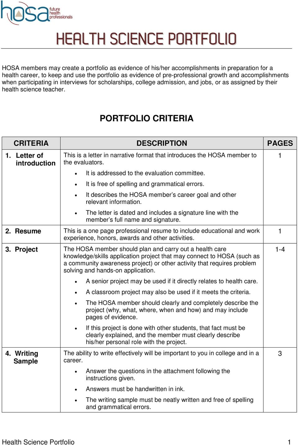 PORTFOLIO CRITERIA CRITERIA DESCRIPTION PAGES. Letter of introduction This is a letter in narrative format that introduces the HOSA member to the evaluators.