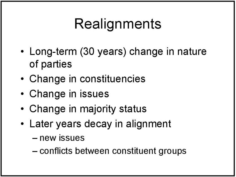 issues Change in majority status Later years decay