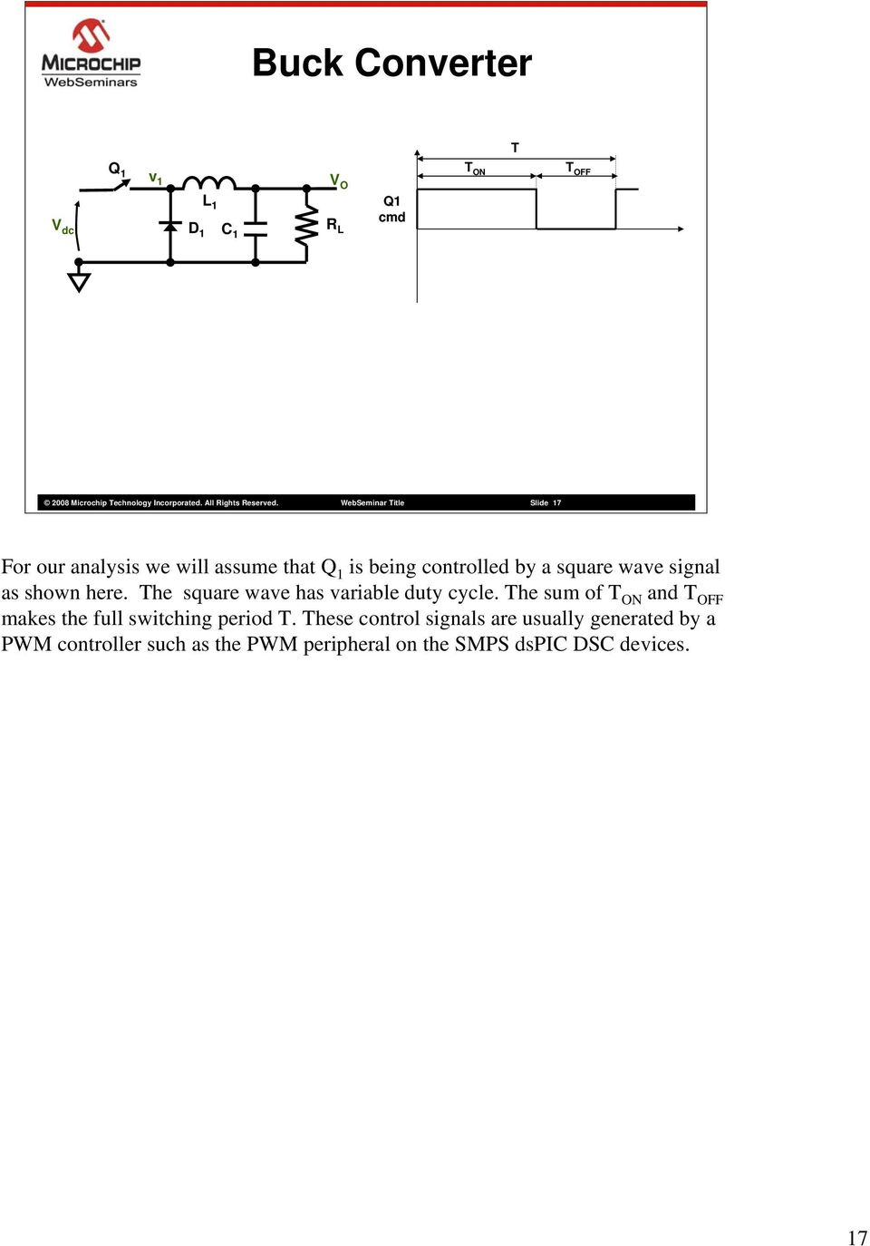 shown here. The square wave has variable duty cycle.