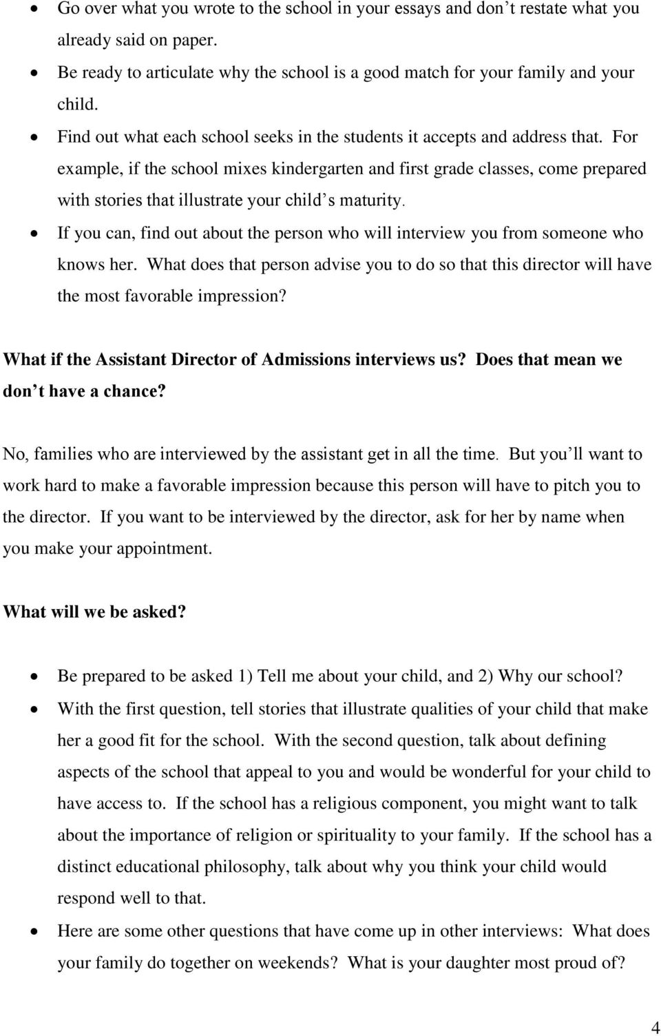 Questions at the first grade interview: what is asked of the children
