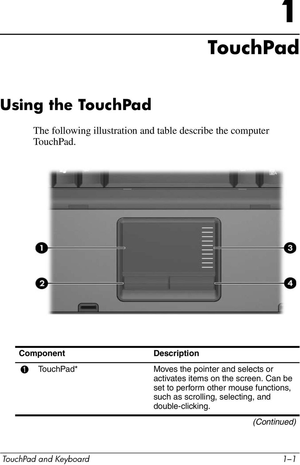 Component Description 1 TouchPad* Moves the pointer and selects or activates items