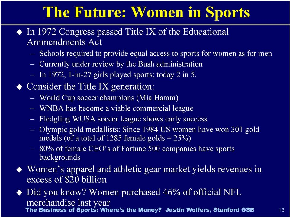 Consider the Title IX generation: World Cup soccer champions (Mia Hamm) WNBA has become a viable commercial league Fledgling WUSA soccer league shows early success Olympic gold medallists:
