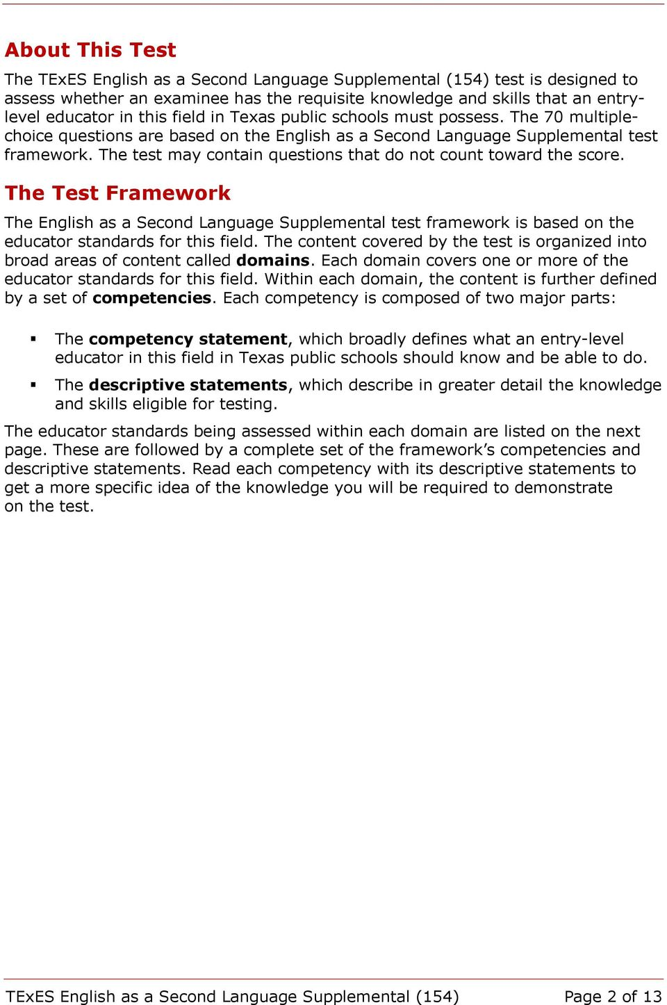 The test may contain questions that do not count toward the score. The Test Framework The English as a Second Language Supplemental test framework is based on the educator standards for this field.