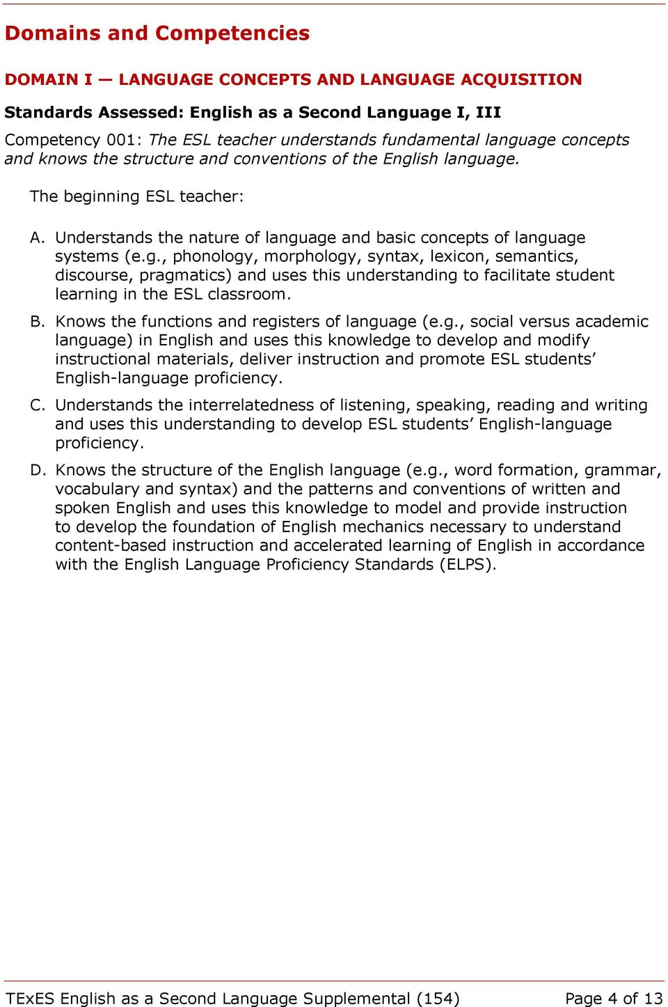 ish language. A. Understands the nature of language and basic concepts of language systems (e.g., phonology, morphology, syntax, lexicon, semantics, discourse, pragmatics) and uses this understanding to facilitate student learning in the ESL classroom.