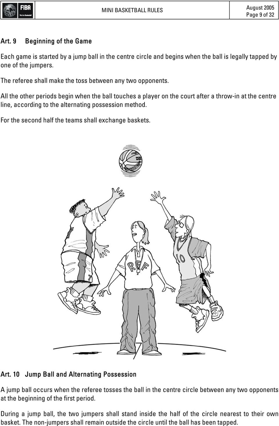 All the other periods begin when the ball touches a player on the court after a throw-in at the centre line, according to the alternating possession method.