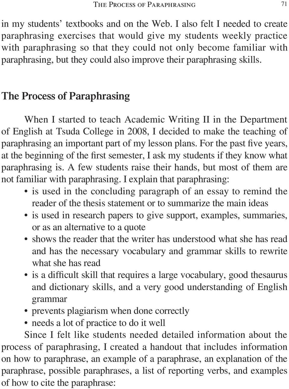 Exercises of paraphrasing in english