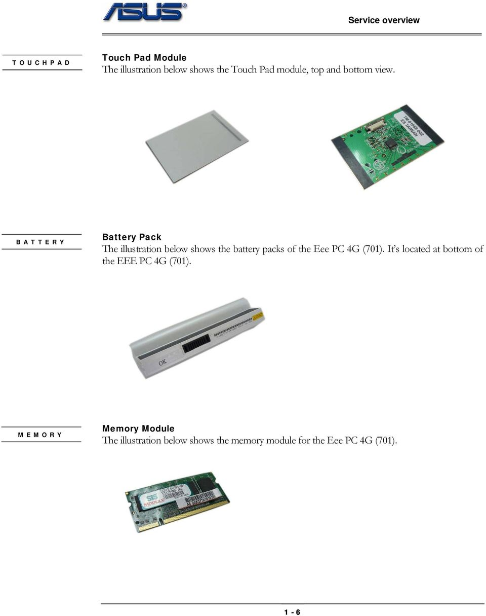 BATTERY Battery Pack The illustration below shows the battery packs of the Eee PC