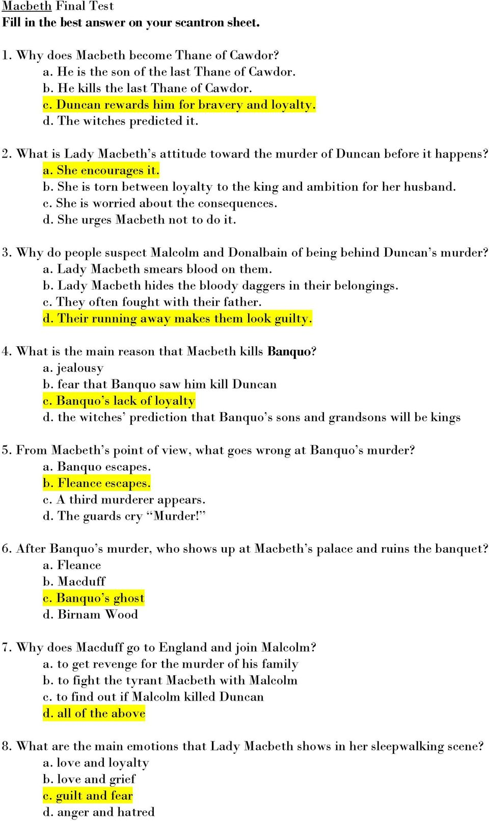 What does macbeth learn about macduff