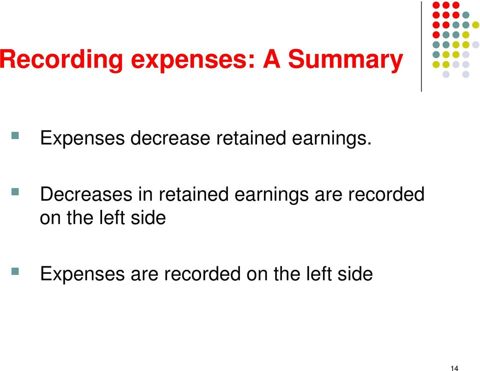Decreases in retained earnings are