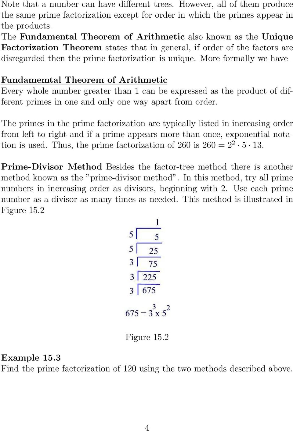 More formally we have Fundamemtal Theorem of Arithmetic Every whole number greater than 1 can be expressed as the product of different primes in one and only one way apart from order.