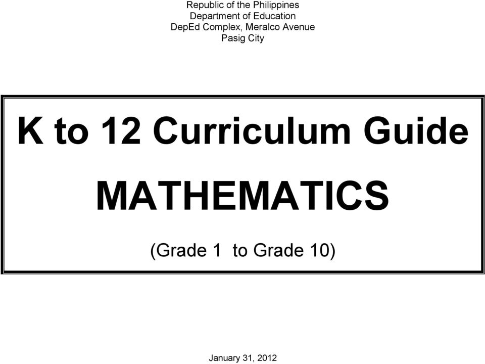 Pasig City K to 12 Curriculum Guide