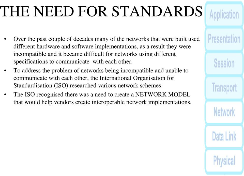 To address the problem of networks being incompatible and unable to communicate with each other, the International Organisation for Standardisation