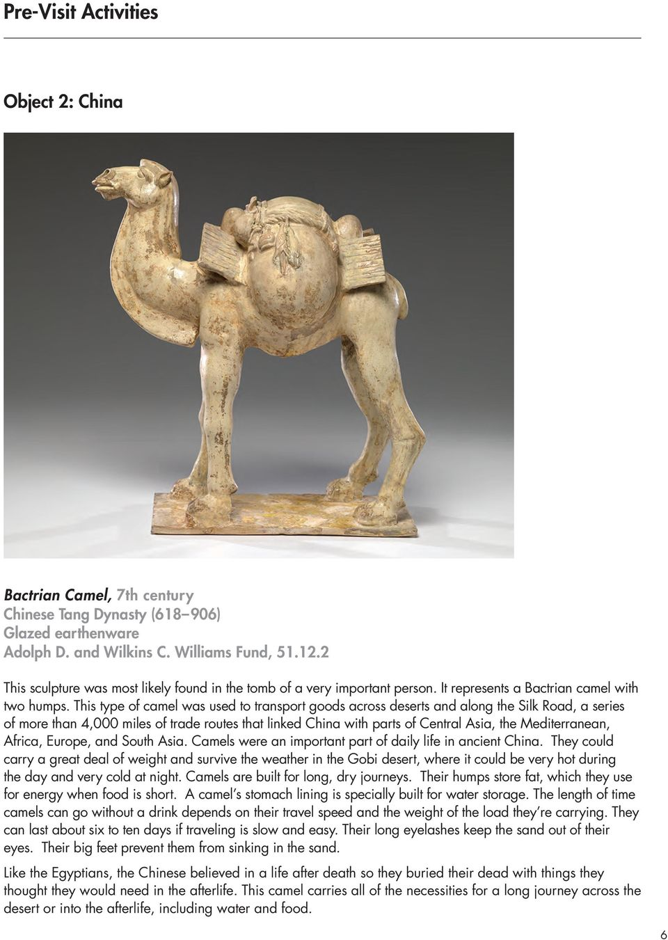 This type of camel was used to transport goods across deserts and along the Silk Road, a series of more than 4,000 miles of trade routes that linked China with parts of Central Asia, the