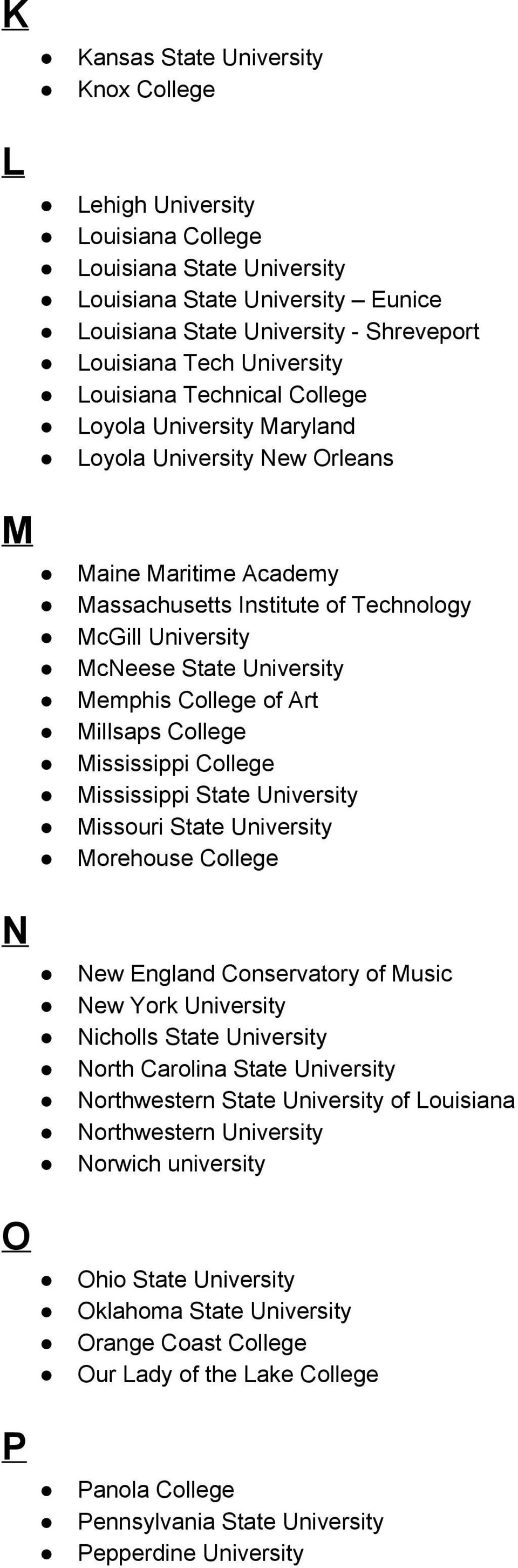 University Memphis College of Art Millsaps College Mississippi College Mississippi State University Missouri State University Morehouse College N O P New England Conservatory of Music New York