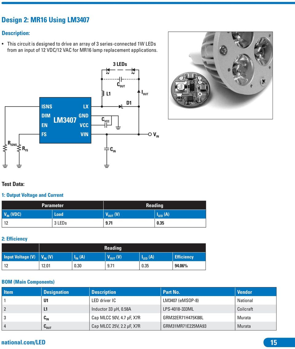 Led Drivers For High Brightness Lighting Pdf 3w Mr16 Constant Current Ce Driver Circuit Manufacturer From 35 2 Efficiency Input Voltage V In I