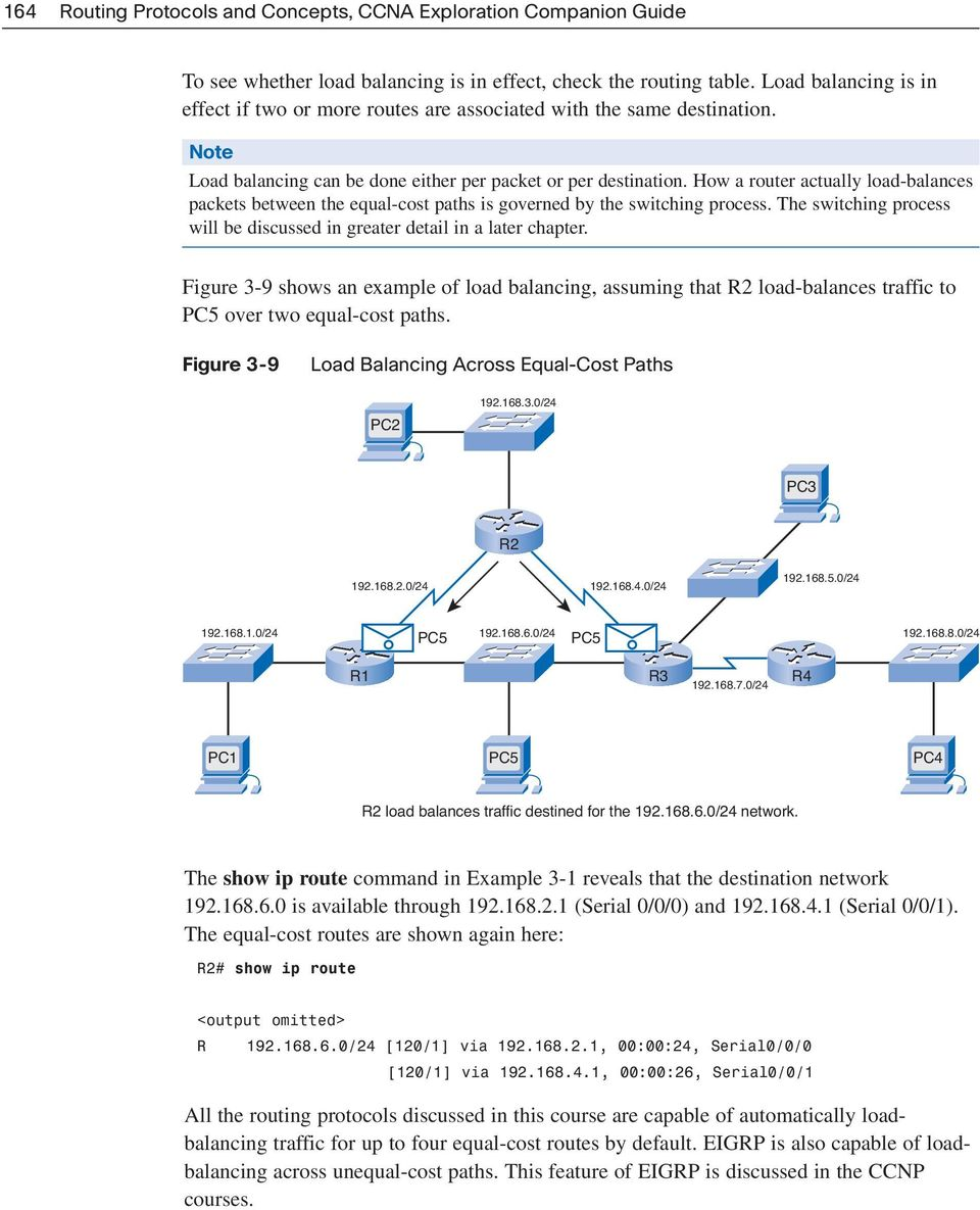 How a router actually load-balances packets between the equal-cost paths is governed by the switching process. The switching process will be discussed in greater detail in a later chapter.