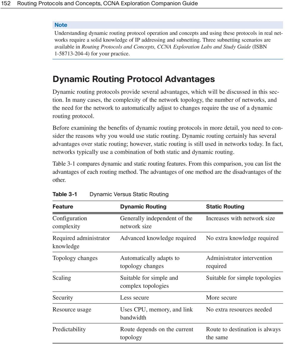 Dynamic Routing Protocol Advantages Dynamic routing protocols provide several advantages, which will be discussed in this section.