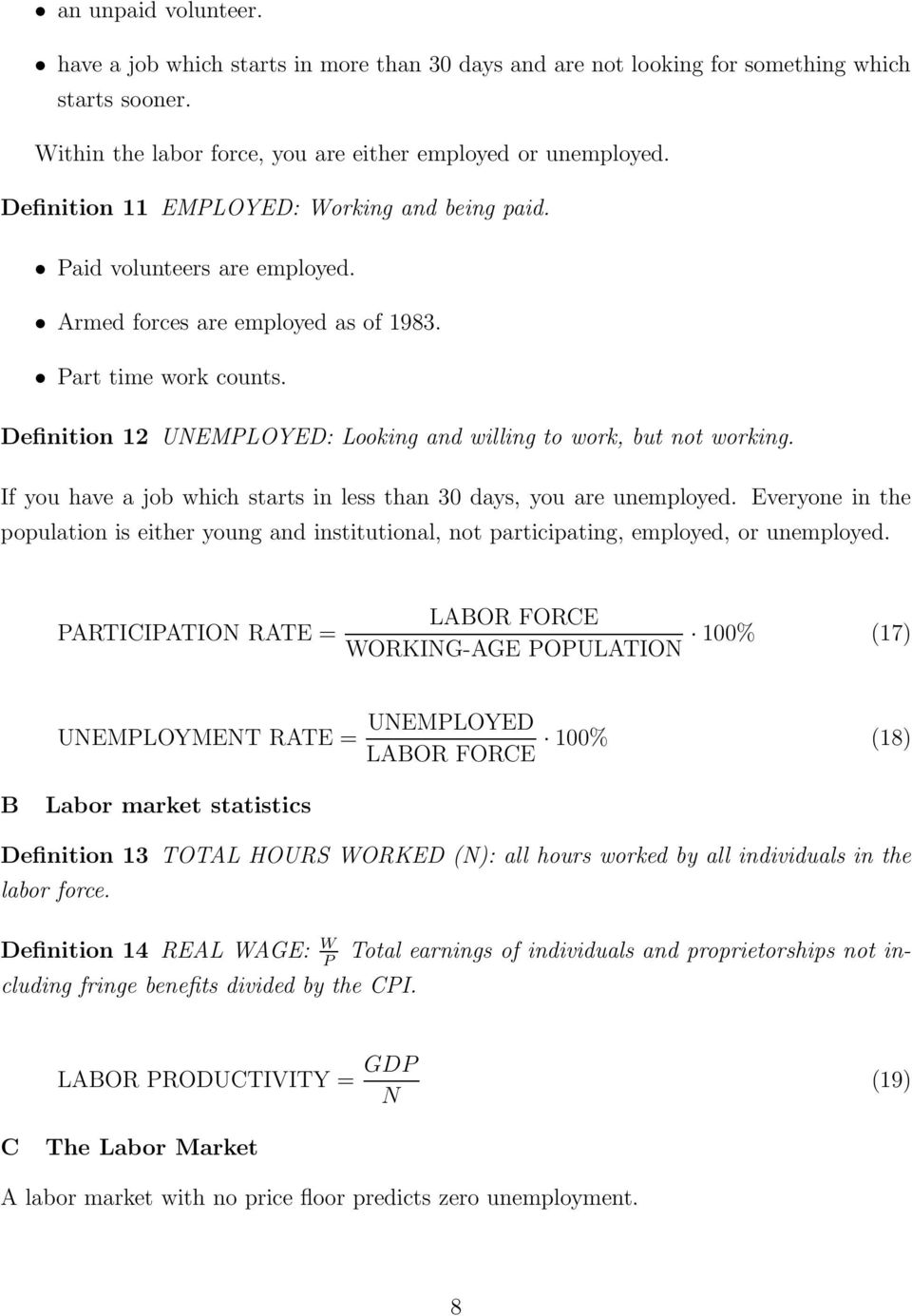 Definition 12 UNEMPLOYED: Looking and willing to work, but not working. If you have a job which starts in less than 30 days, you are unemployed.