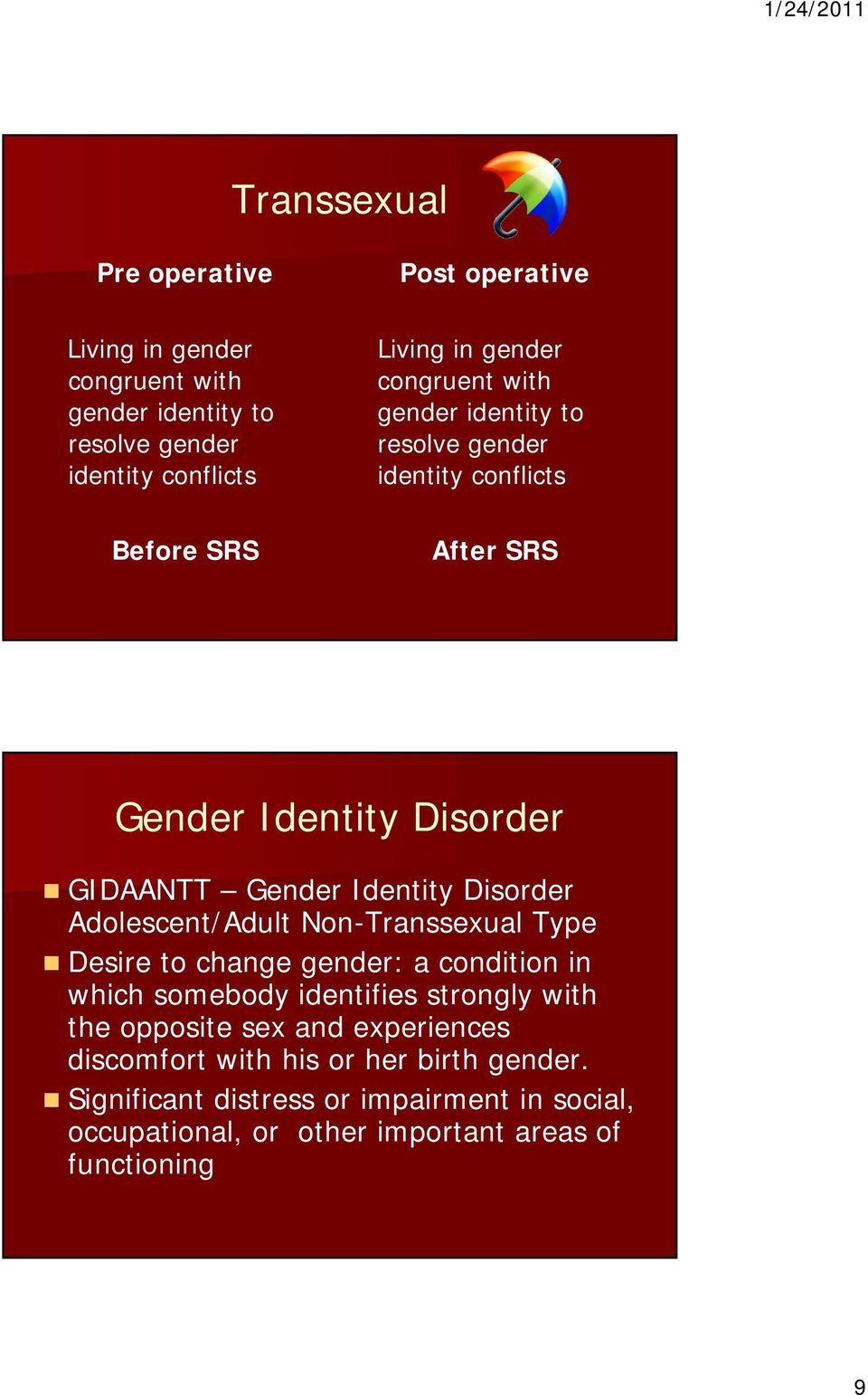 Disorder Adolescent/Adult Non-Transsexual Type Desire to change gender: a condition in which somebody identifies strongly with the opposite sex