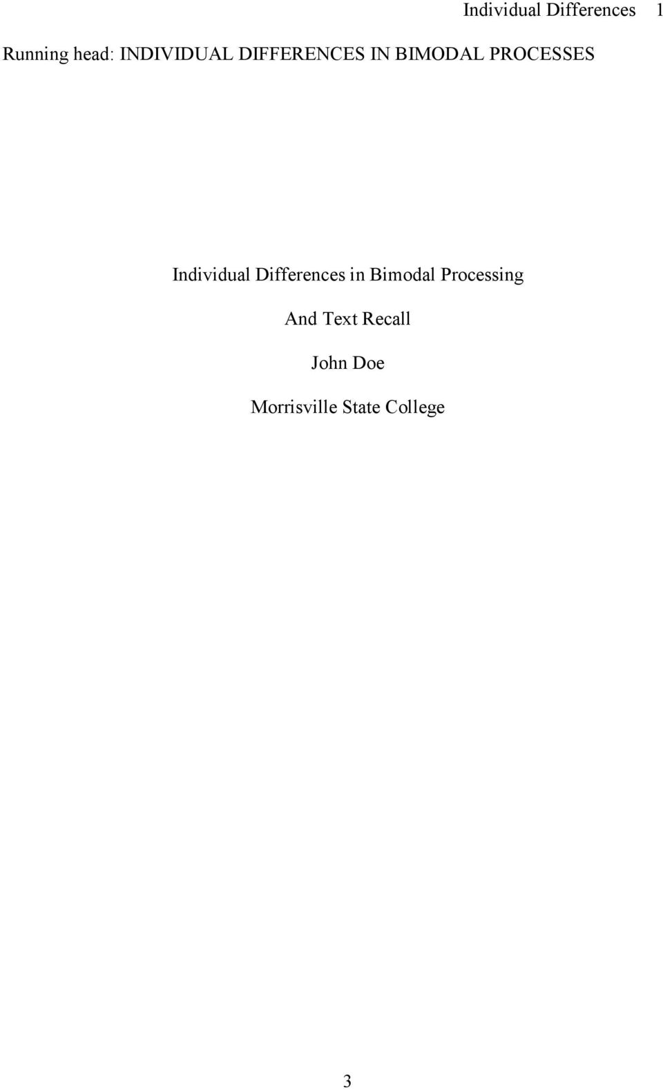 Individual Differences in Bimodal Processing