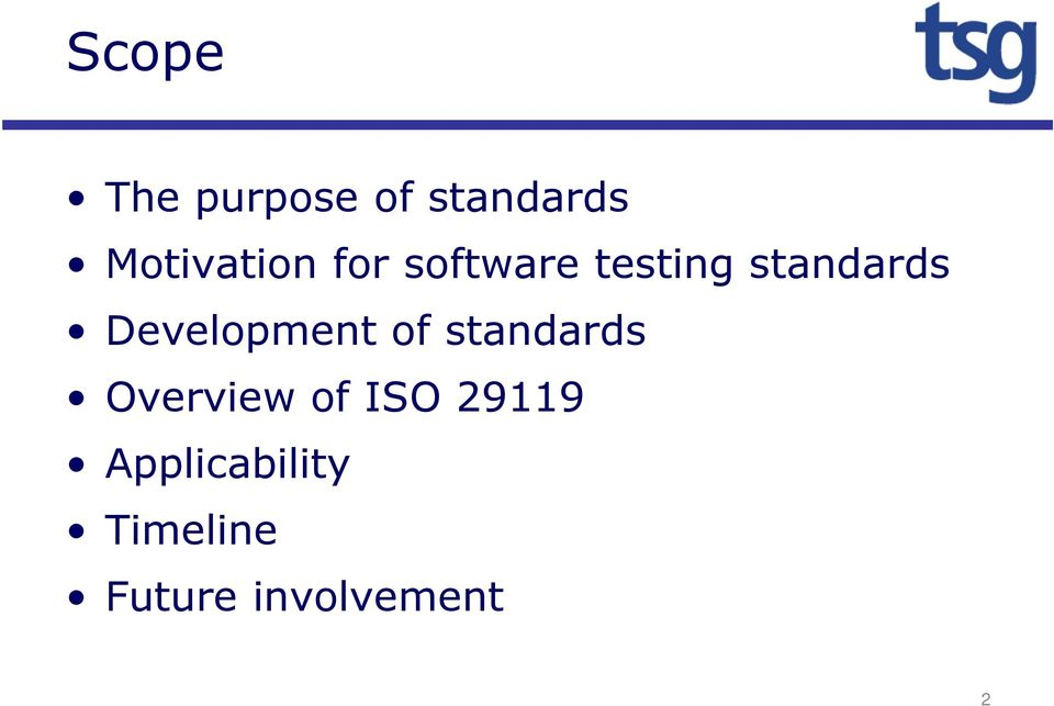 standards Development of standards
