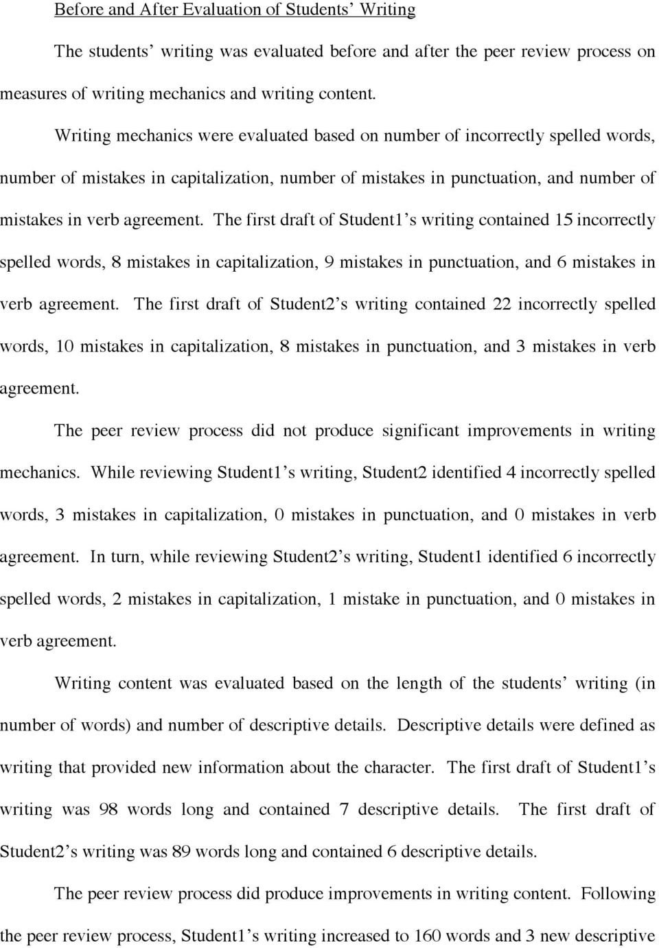 The first draft of Student1 s writing contained 15 incorrectly spelled words, 8 mistakes in capitalization, 9 mistakes in punctuation, and 6 mistakes in verb agreement.