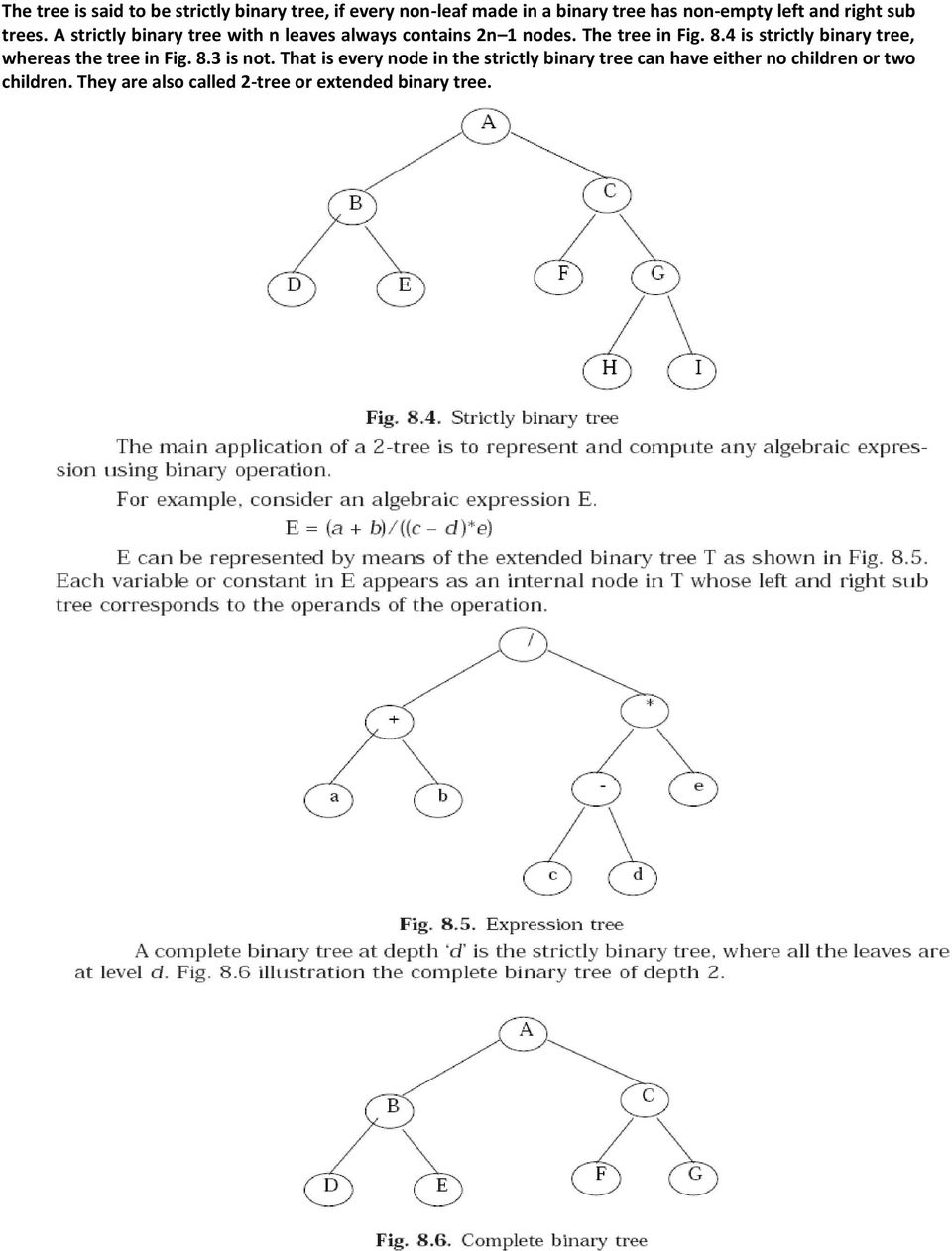 4 is strictly binary tree, whereas the tree in Fig. 8.3 is not.