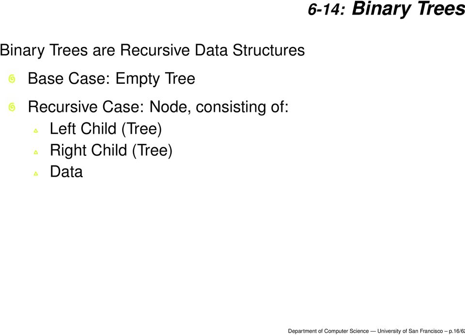 consisting of: Left Child (Tree) Right Child (Tree) Data