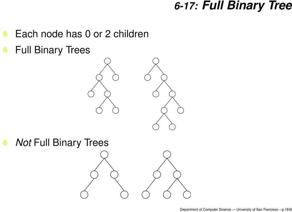 Full Binary Trees Department of