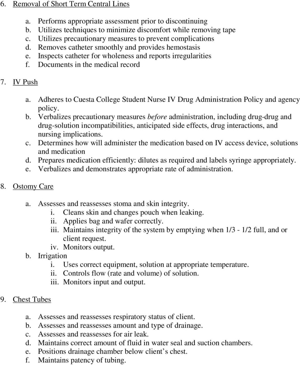 Documents in the medical record a. Adheres to Cuesta College Student Nurse IV Drug Administration Policy and agency policy. b.