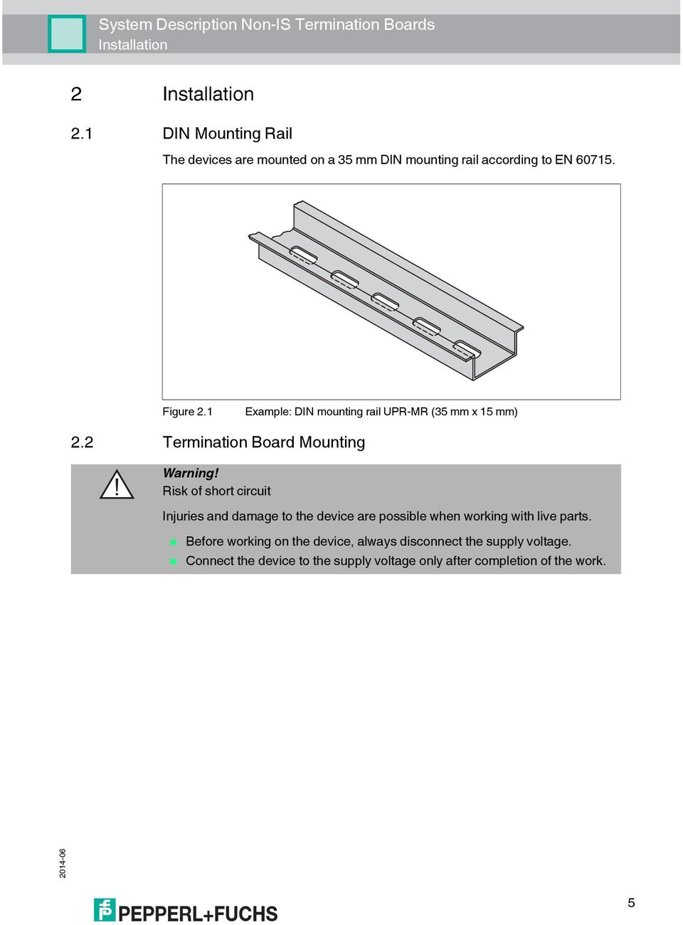 1 Example: DIN mounting rail UPR-MR (35 mm x 15 mm) 2.2 Termination Board Mounting Warning!