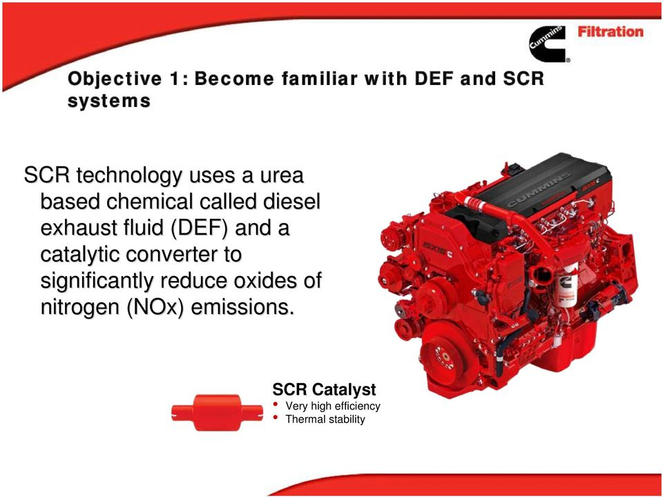 (DEF) and a catalytic converter to significantly reduce oxides of