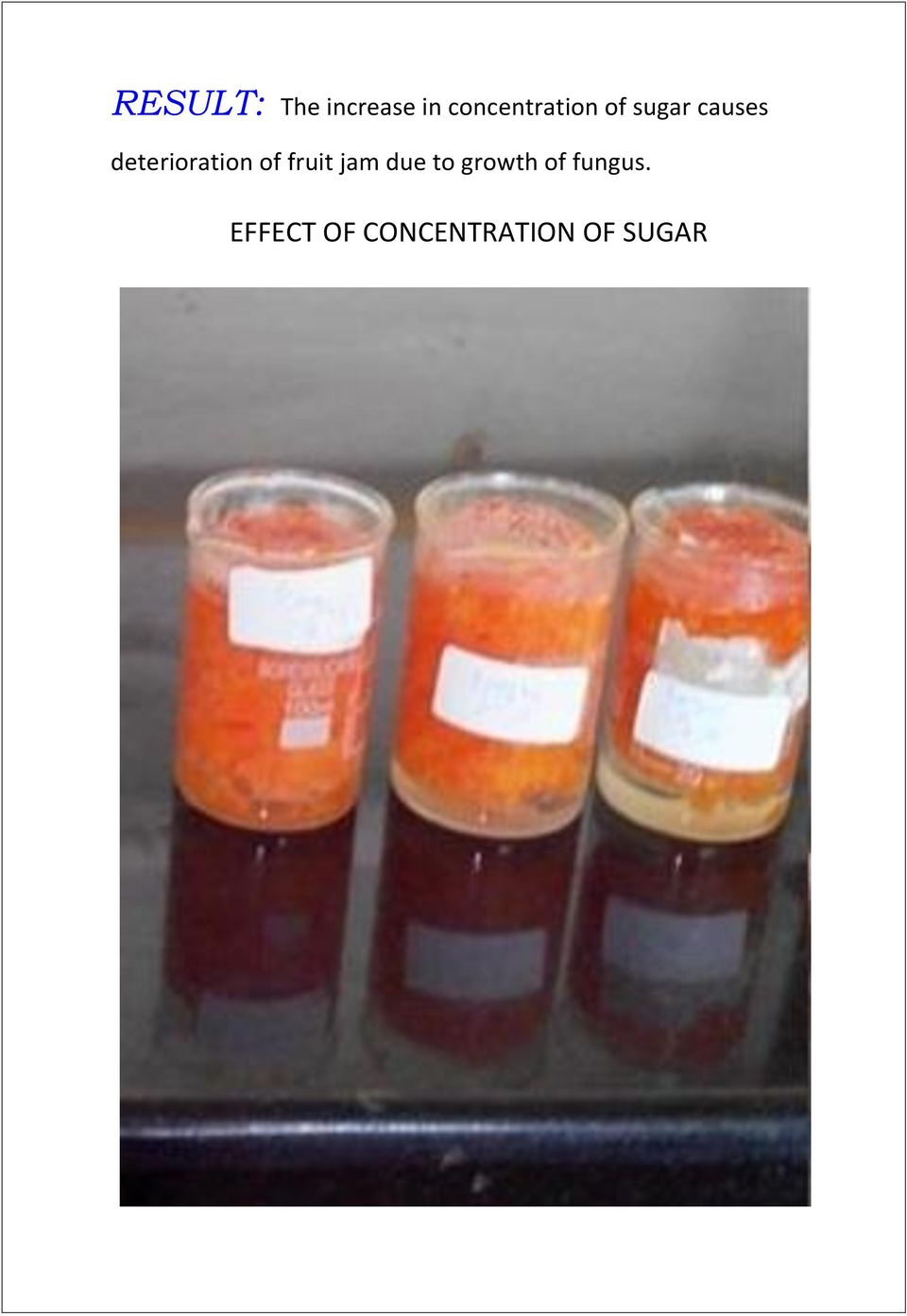 deterioration of fruit jam due to