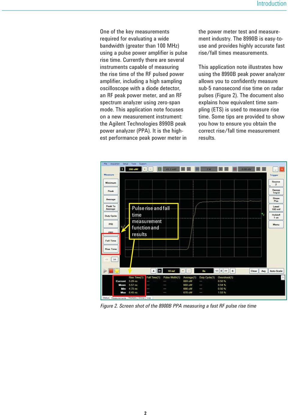 an RF spectrum analyzer using zero-span mode. This application note focuses on a new measurement instrument: the Agilent Technologies 8990B peak power analyzer (PPA).