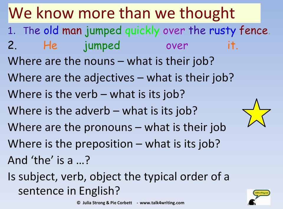 Where is the adverb what is its job? Where are the pronouns what is their job Where is the preposition what is its job?