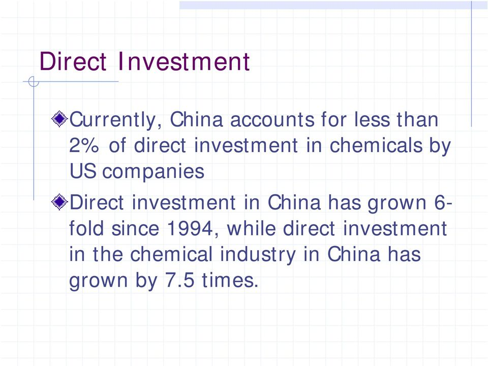investment in China has grown 6- fold since 1994, while direct
