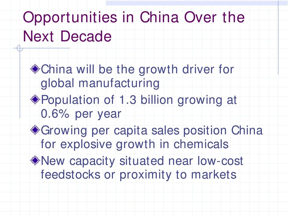 6% per year Growing per capita sales position China for explosive growth