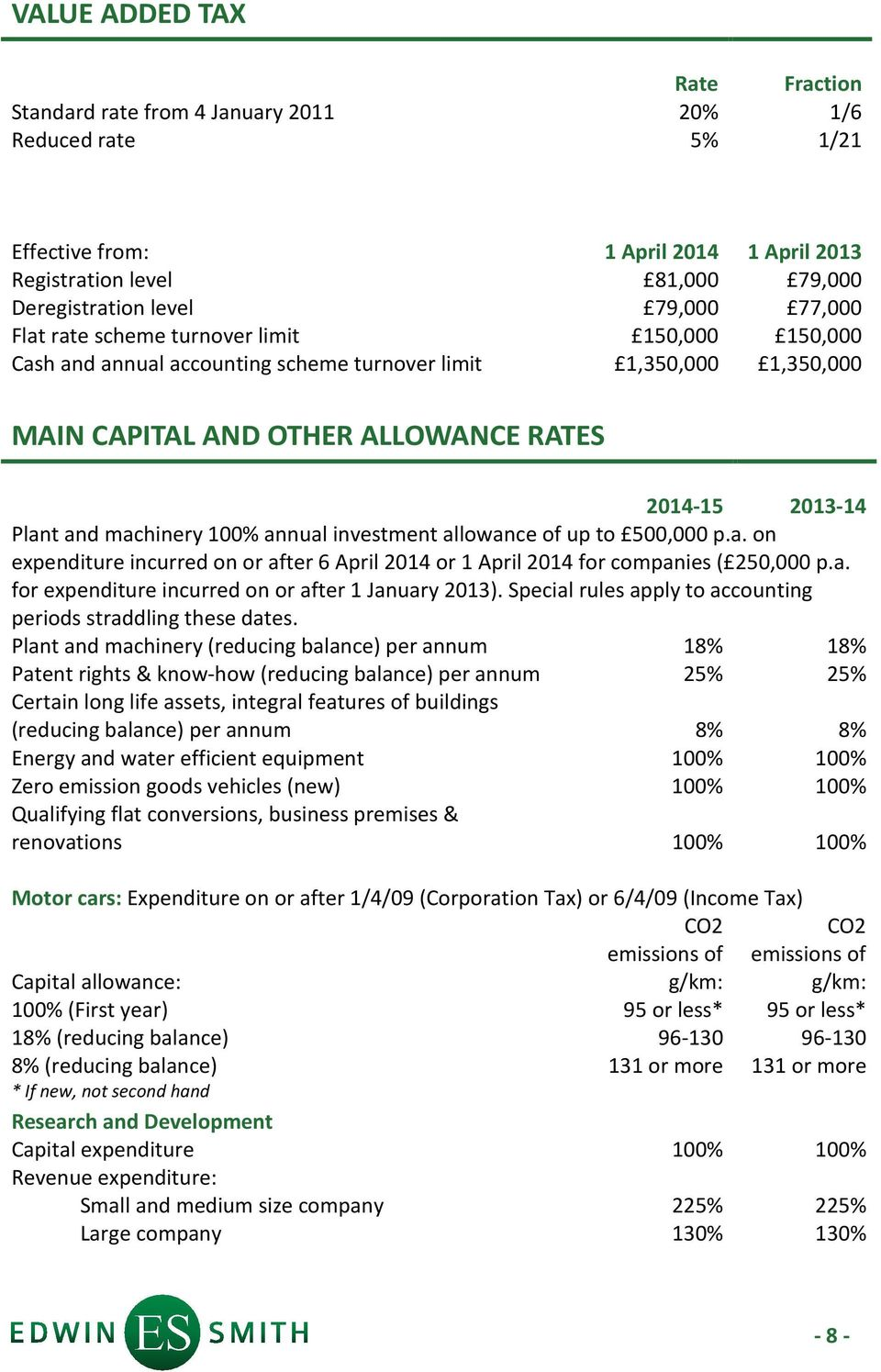 investment allowance of up to 500,000 p.a. on expenditure incurred on or after 6 April 2014 or 1 April 2014 for companies ( 250,000 p.a. for expenditure incurred on or after 1 January 2013).