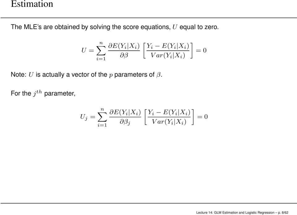 vector of the p parameters of β.