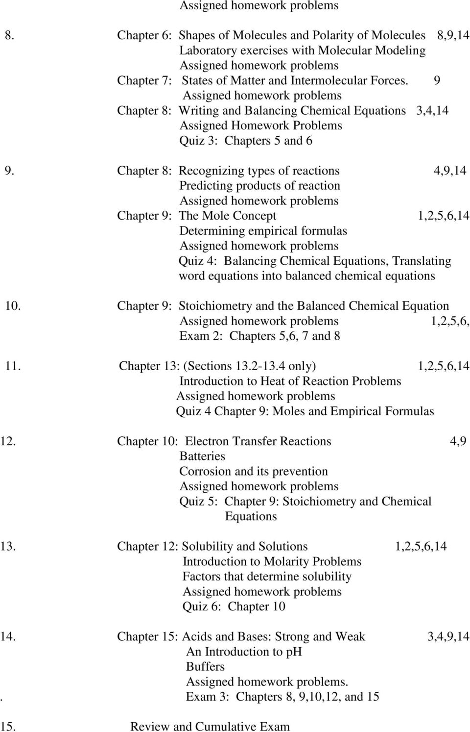 Chapter 8: Recognizing types of reactions 4,9,14 Predicting products of reaction Chapter 9: The Mole Concept 1,2,5,6,14 Determining empirical formulas Quiz 4: Balancing Chemical Equations,