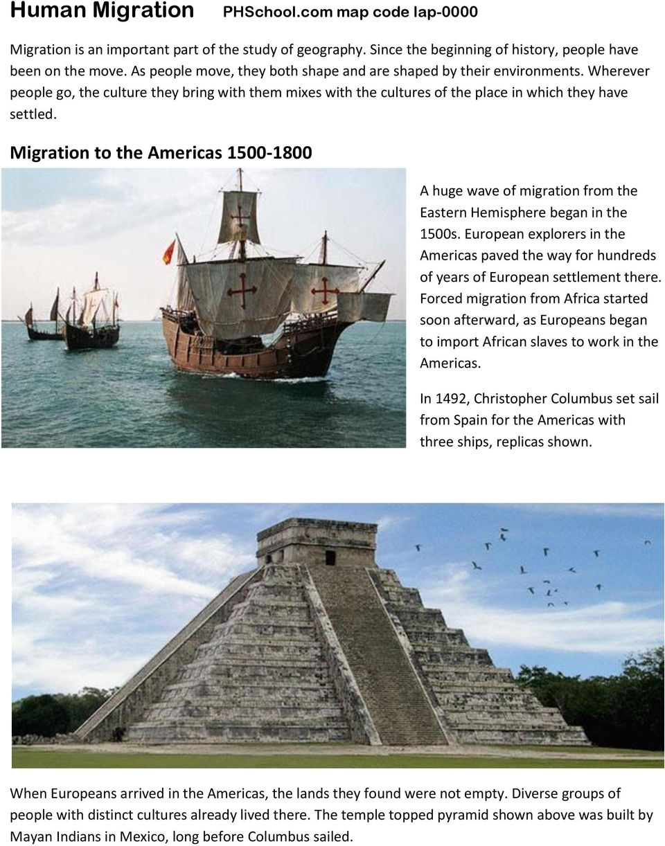 Migration to the Americas 1500-1800 A huge wave of migration from the Eastern Hemisphere began in the 1500s.