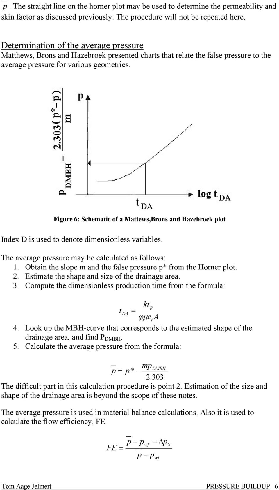 Figure 6: Schemaic of a Maews,Brons and Hazebroek lo Index D is used o denoe dimensionless variables. The average ressure may be calculaed as follows: 1.