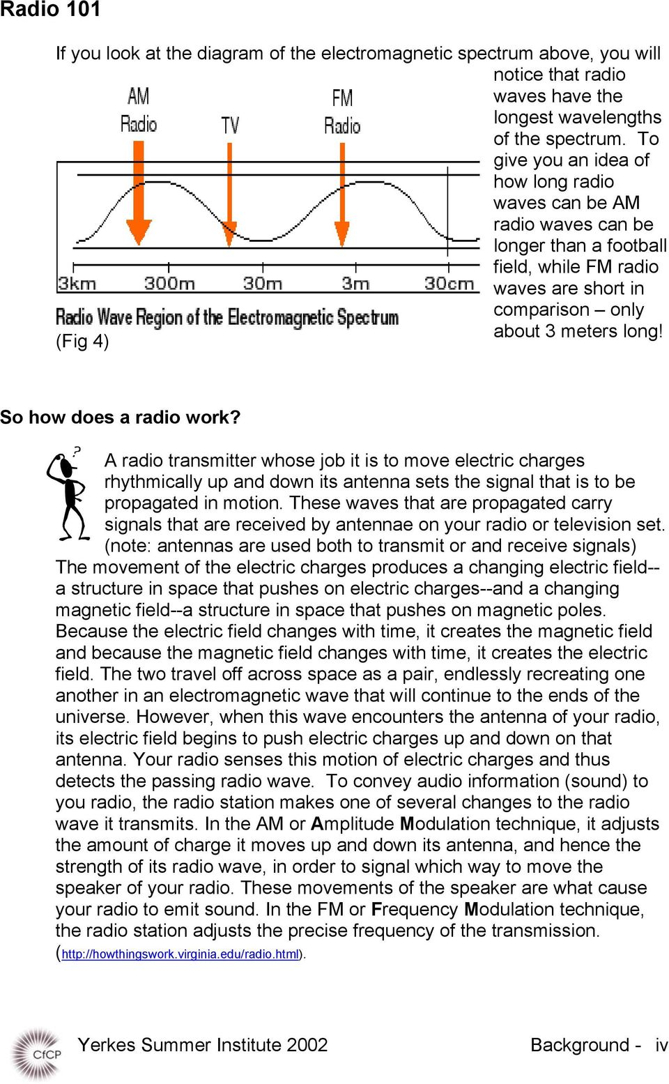 (Fig 4) So how does a radio work? A radio transmitter whose job it is to move electric charges rhythmically up and down its antenna sets the signal that is to be propagated in motion.